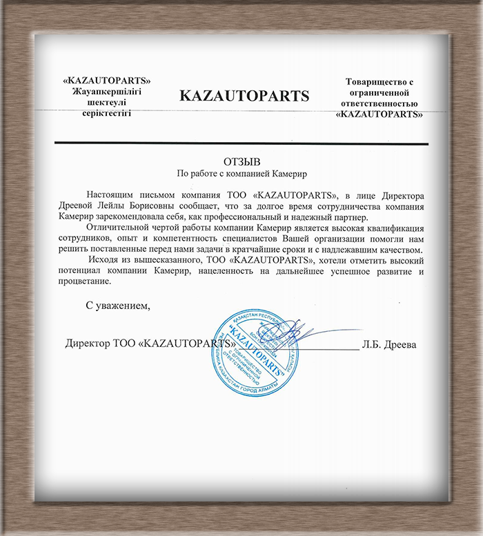 Рекомендация ТОО KazAutoParts